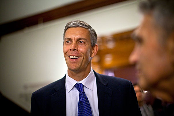 """It is an honor to be chief marshal for the 2011 Harvard Commencement,"" U.S. Secretary of Education Arne Duncan '86 said. ""President Obama has challenged America's young adults to lead the world in college completion by the end of the decade. At Harvard today and at thousands of institutions of higher education this spring, young men and women are celebrating their work toward helping America reach that goal and begin their roles as future leaders of this country."""