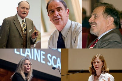 """Harvard is an institution of truly great teachers,"" said Faculty of Arts and Sciences Dean Michael D. Smith. ""Each year, it is a pleasure to recognize great scholars like Benedict Gross, Farish Jenkins, Arthur Kleinman, Elaine Scarry, and Alison Simmons for their pedagogical excellence. As Harvard College Professors, they are made visible to their colleagues as rich sources of insight and experience."" Jenkins (clockwise from top left), Gross, Kleinman, Simmons, and Scarry said they were honored by the award."