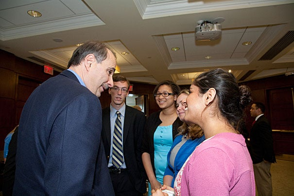 David Axelrod, former senior adviser to President Barack Obama, engages with Harvard undergraduates as a new Institute of Politics' Senior Advisory Committee member in Cambridge on May 5.