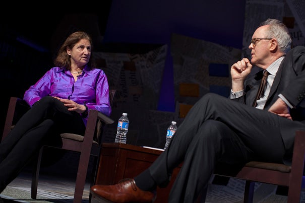 """""""I still feel the art of photography as trespassing,"""" said documentary photographer Susan Meiselas, Ed.M. '71, who received the 2011 Harvard Arts Medal as part of the annual Arts First Festival. John Lithgow '67 moderated the discussion with the artist."""