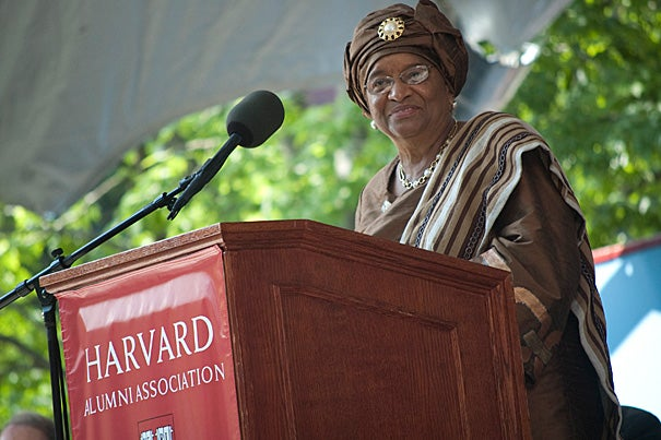 "Ellen Johnson Sirleaf, the first woman president of an African nation, gave the Commencement address at Thursday's (May 26) afternoon ceremonies in Harvard's Tercentenary Theatre. She told graduating seniors of the challenges she faced and urged them to be fearless when facing the future. ""I always maintained the conviction that my country and people are so much better than our recent history indicates,"" said the Liberian president."