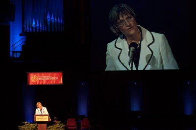 Harvard President Drew Faust delivers the 2011 Jefferson Lecture in the Humanities at the Kennedy Center in Washington, D.C.