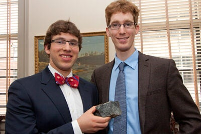 William Marks '12 and Nico Hawley-Weld '12 were among 16 SEAS undergraduates whose project for ES 96 involved analysis of Cambridge argillite 1,500 feet below Radcliffe Yard.