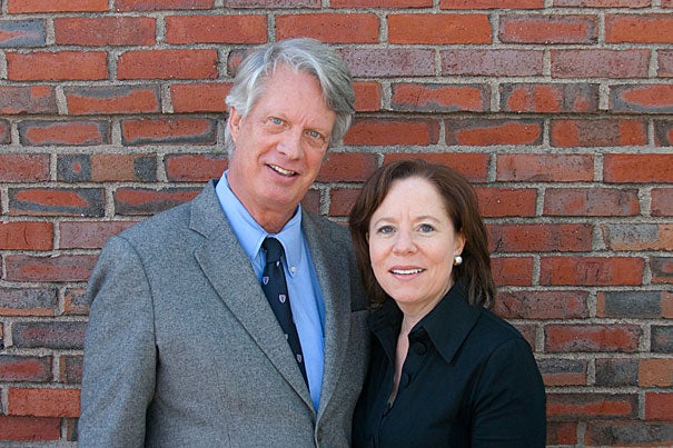 """""""What I prize most about being a Harvard graduate is the remarkable power of the network of Harvard alumni around the world,"""" said outgoing Harvard Alumni Association President Robert R. Bowie Jr. '73, seen here with successor Ellen Gordon Reeves '83, Ed.M. '86."""