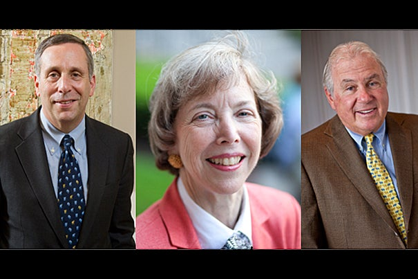 The Harvard Corporation will add three new members this July: Lawrence S. Bacow (from left), Susan L. Graham, and Joseph J. O'Donnell.