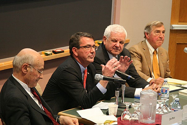 Four nuclear policy veterans —  Joseph S. Nye Jr. (from left), Ashton B. Carter, Albert Carnesale, and Graham Allison — gathered at the Harvard Kennedy School for a seminar on the current challenges in avoiding nuclear war.
