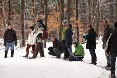 "Last winter, the January Innovation Fund supported a group of 10 undergraduates from a range of concentrations to attend a Harvard Forest course in Petersham, Mass. The students strapped on snowshoes to explore beaver lodges, learned about local botany, and pulled an icy sample from a frozen bog for a hands-on lesson in ""paleoecology."""