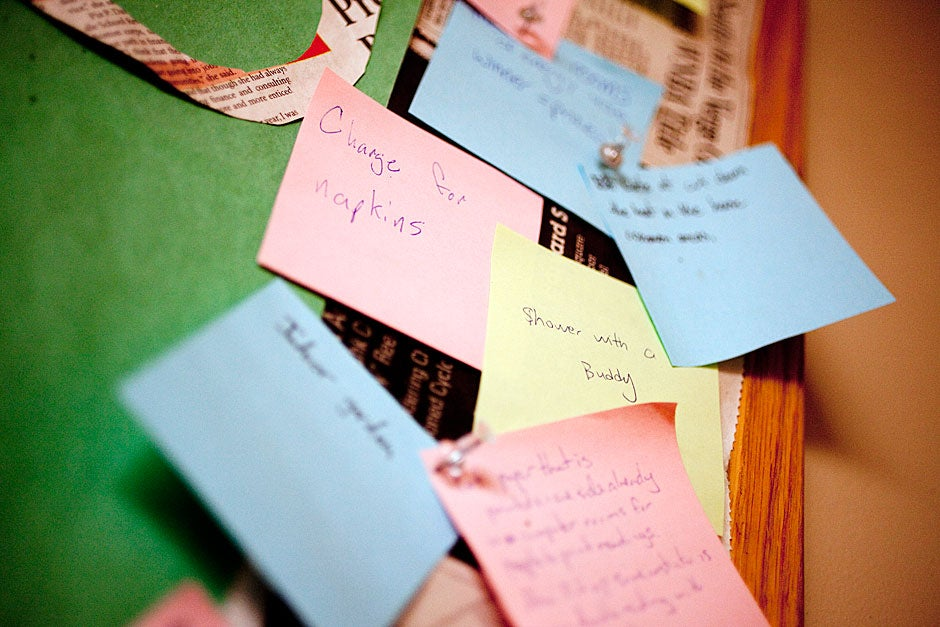 Residents post ideas for a greener Currier on a board in the dining hall. Rose Lincoln/Harvard Staff Photographer