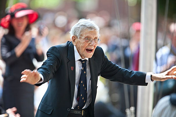 Donald Brown (pictured), age 102, graduated from Harvard College in 1930. He was the oldest alumnus at Commencement this year, beating George Barner '29 by a month. Brown earned an A.M. in 1935 and a Ph.D. in 1955.