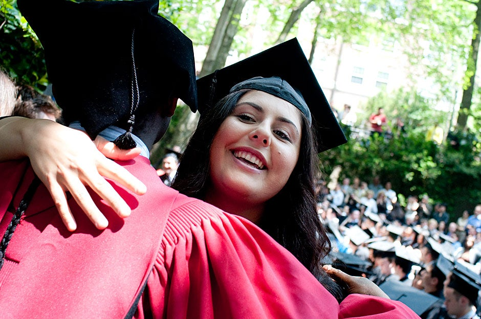 Currier resident Tiffany Fereydouni is congratulated with a hug. Katherine C. Cohen/Harvard Staff Photographer
