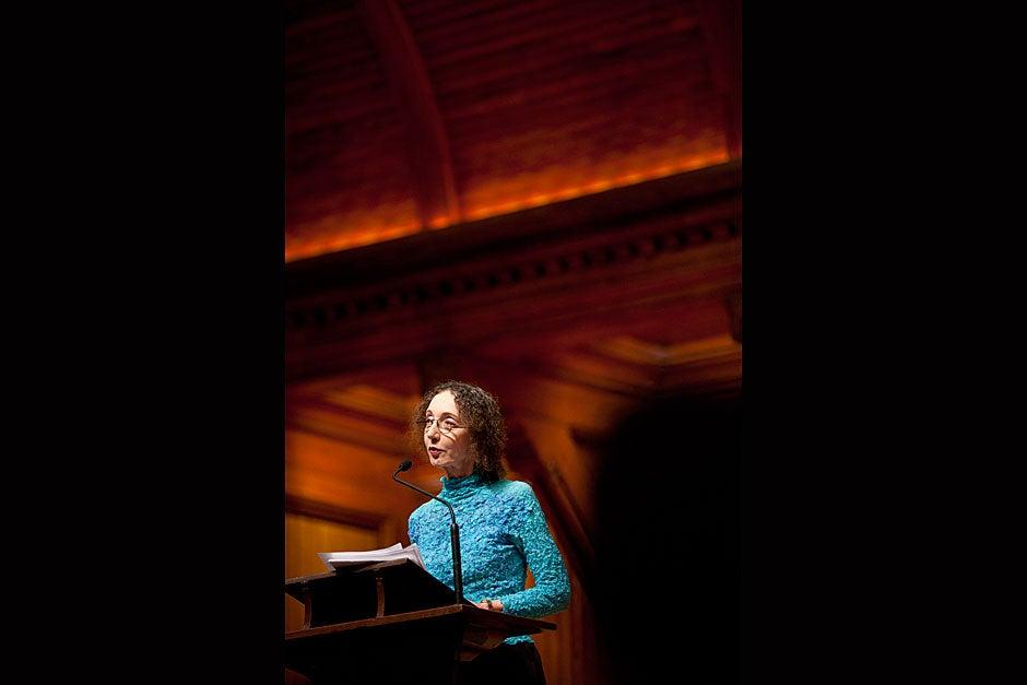 Author Joyce Carol Oates gives the oration during the Phi Beta Kappa Literary Exercises. Stephanie Mitchell/Harvard Staff Photographer