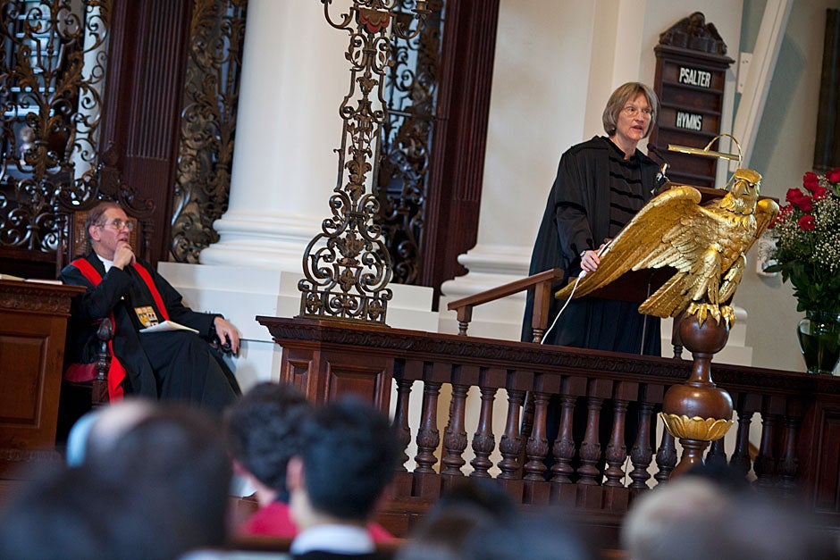 Harvard University President Drew Faust speaks to the Class of 2011 during the Baccalaureate Service inside the Memorial Church. Justin Ide/Harvard Staff Photographer