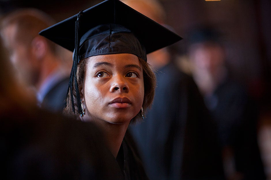 Dany Thorpe '11 looks back while waiting for the Baccalaureate Service to begin. Justin Ide/Harvard Staff Photographer