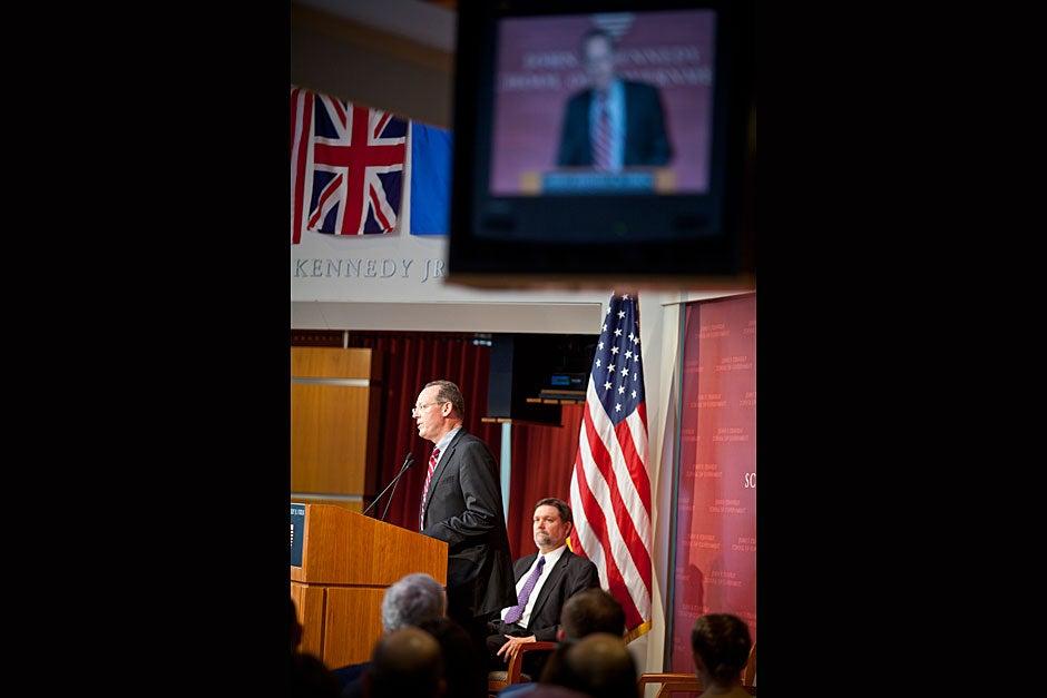 Paul Farmer, Kolokotrones University Professor at Harvard University, delivers the Commencement address at the Harvard Kennedy School. Justin Ide/Harvard Staff Photographer