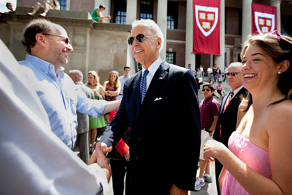 Outside Widener Library, Alana Biden '11 (right) meets with her uncle, U.S. Vice President Joe Biden. Rose Lincoln/Harvard Staff Photographer