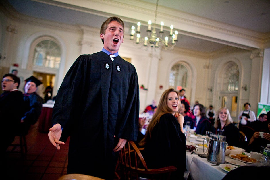 "Dillon Powers '11 sings ""Ode to Kirkland"" inside Kirkland's dining hall on Commencement Day. Justin Ide/Harvard Staff Photographer"