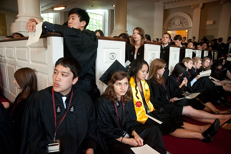 Graduates crowd into the Memorial Church for the Morning Chapel Service. Jon Chase/Harvard Staff Photographer