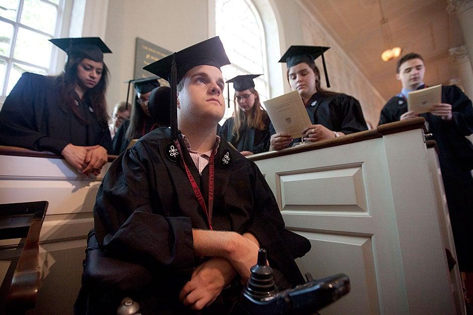 Matt Cavedon '11 attends Morning Chapel Service. Kris Snibbe/Harvard Staff Photographer