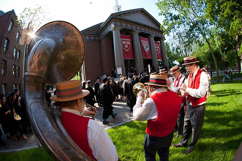 A brass band plays outside the Memorial Church. Brooks Canaday/Harvard University