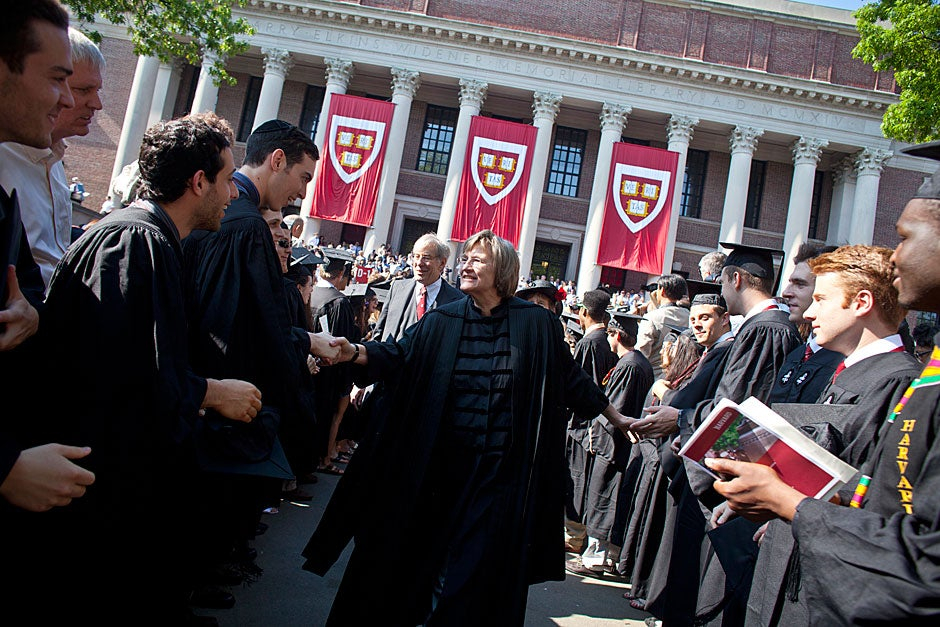 Harvard President Drew Faust leads the procession to the Commencement exercises. Justin Ide/Harvard Staff Photographer