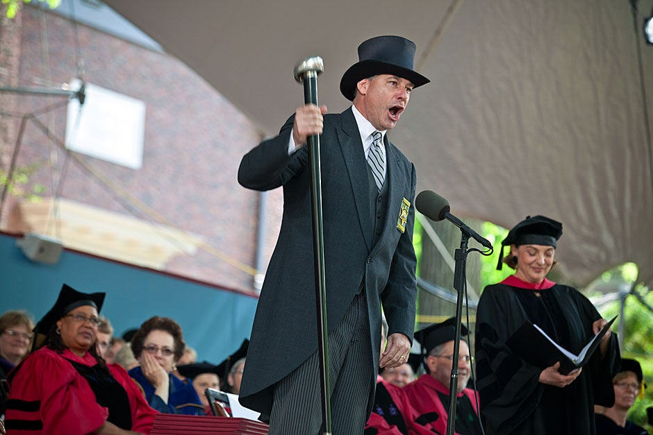 Middlesex County Sheriff Peter Koutoujian calls Commencement to order. Justin Ide/Harvard Staff Photographer