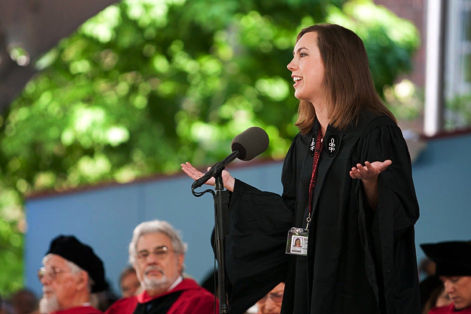 Katie J. Coulson '11 delivers the undergraduate oration during Commencement. Brooks Canaday/Harvard University