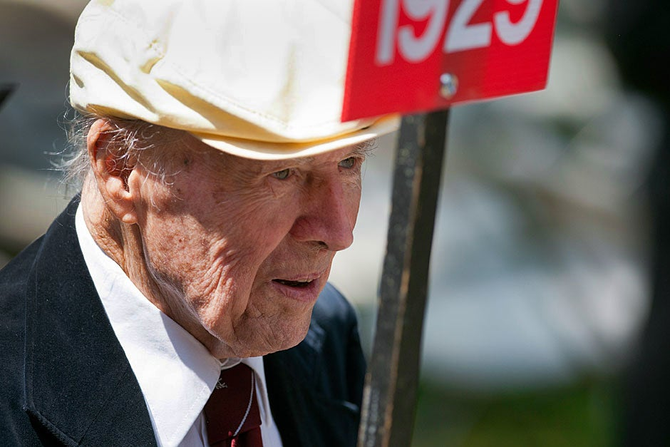 George Barner '29, who is 102 years old, processes to the Tercentenary  Theatre during the alumni parade. Brooks Canaday/Harvard University