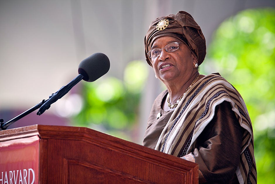 Her Excellency Ellen Johnson Sirleaf, president of the Republic of Liberia, delivers her address in the Afternoon Exercises as Harvard University celebrates its 360th Commencement. Justin Ide/Harvard Staff Photographer