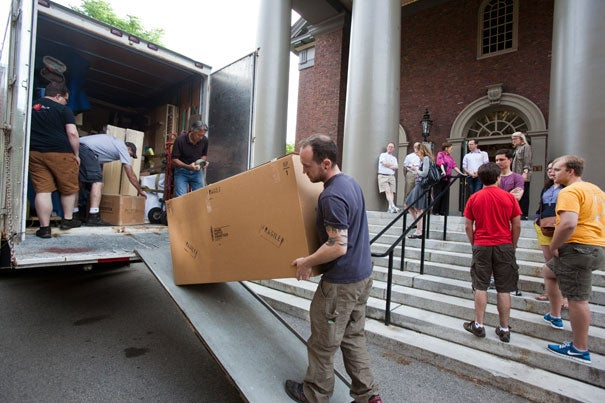 Members of the Memorial Church's congregation and staff, along with members of the Harvard community, helped move the first of four deliveries of the 16-ton, new Fisk Opus 139 organ's thousands of parts.