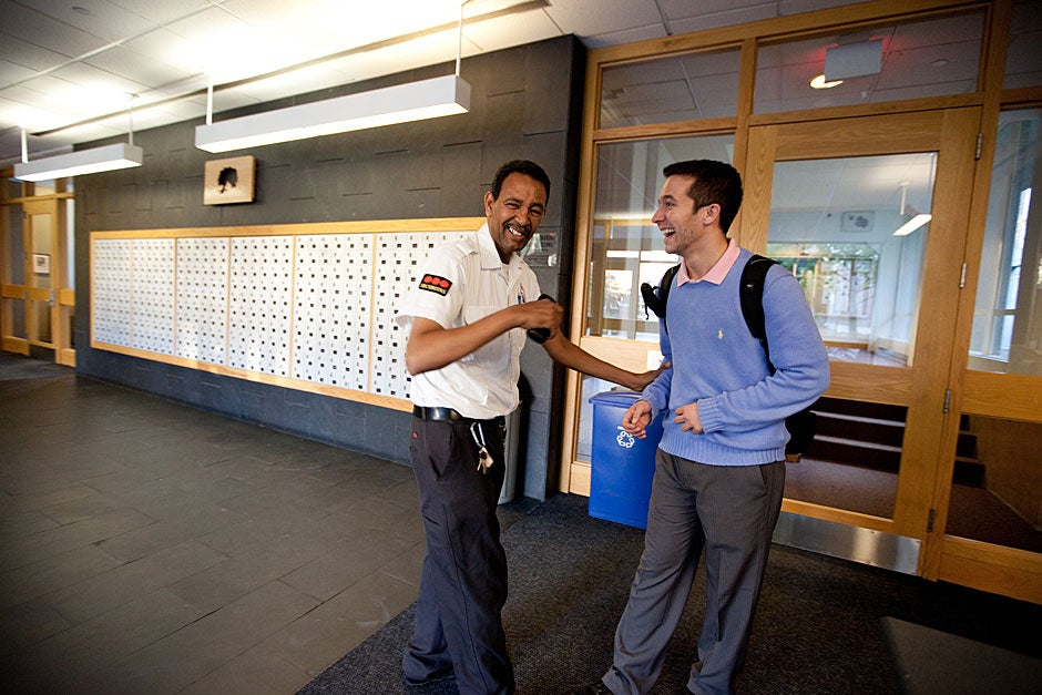 Yohannes Tewolde goofs around with Currier resident Richard Maopolski (right). Rose Lincoln/Harvard Staff Photographer