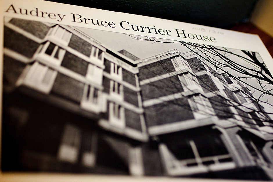 Audrey Bruce Currier House opened in 1970, named after a Radcliffe alumna who had died in a plane crash. The architects, Harrison and Abramovitz, surveyed students about their desires for housing, and so pioneered small clusters of dorm units, each with upstairs bedrooms and a downstairs living room. Rose Lincoln/Harvard Staff Photographer