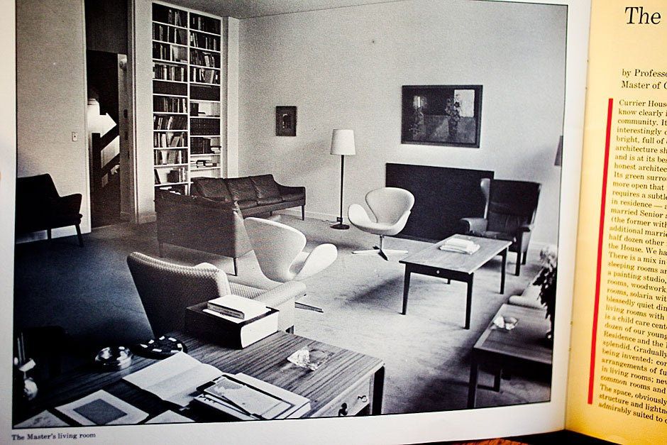 This black and white photograph of the Master's living room at Currier House was published in a booklet distributed at the House dedication in 1971. Rose Lincoln/Harvard Staff Photographer