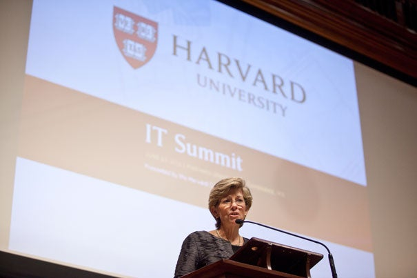 Chief Information Officer Anne Margulies makes opening remarks at the inaugural Harvard IT Summit.