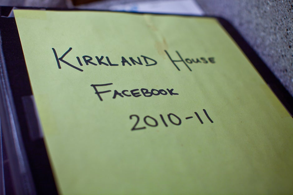 The Kirkland House Facebook sits on the counter inside the Masters' residence during a Food Literacy Project cooking class. Facebook founder Mark Zuckerberg was originally a Kirkland resident, back in 2004. Justin Ide/Harvard Staff Photographer