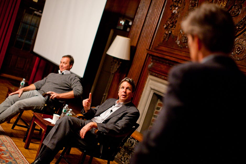 """Conversations with Kirkland is a series that brings together Kirkland residents and members of the community. Peter (from left) and Bobby Farrelly respond to a question from Kirkland resident scholar Peter V. Emerson. The Farrelly brothers are most famous for their comedy films including """"Dumb and Dumber"""" and """"There's Something About Mary."""" Justin Ide/Harvard Staff Photographer"""