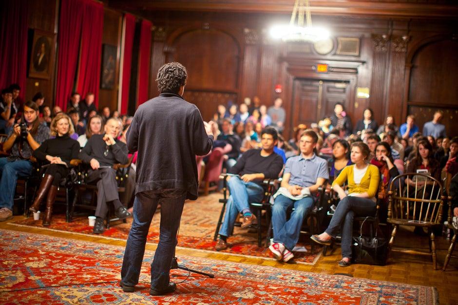 Teake '12, a Kirkland resident, does a spoken word piece during Kirkland's Got Talent. Justin Ide/Harvard Staff Photographer
