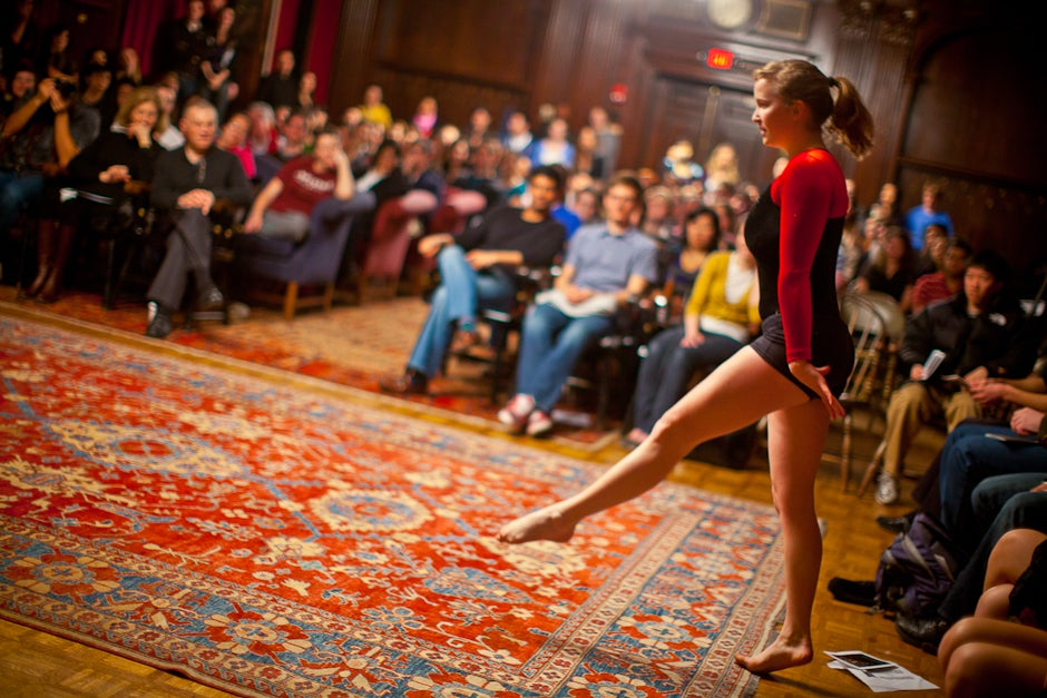 Paige Martin '11 performs a gymnastic routine for Kirkland's Got Talent. Justin Ide/Harvard Staff Photographer