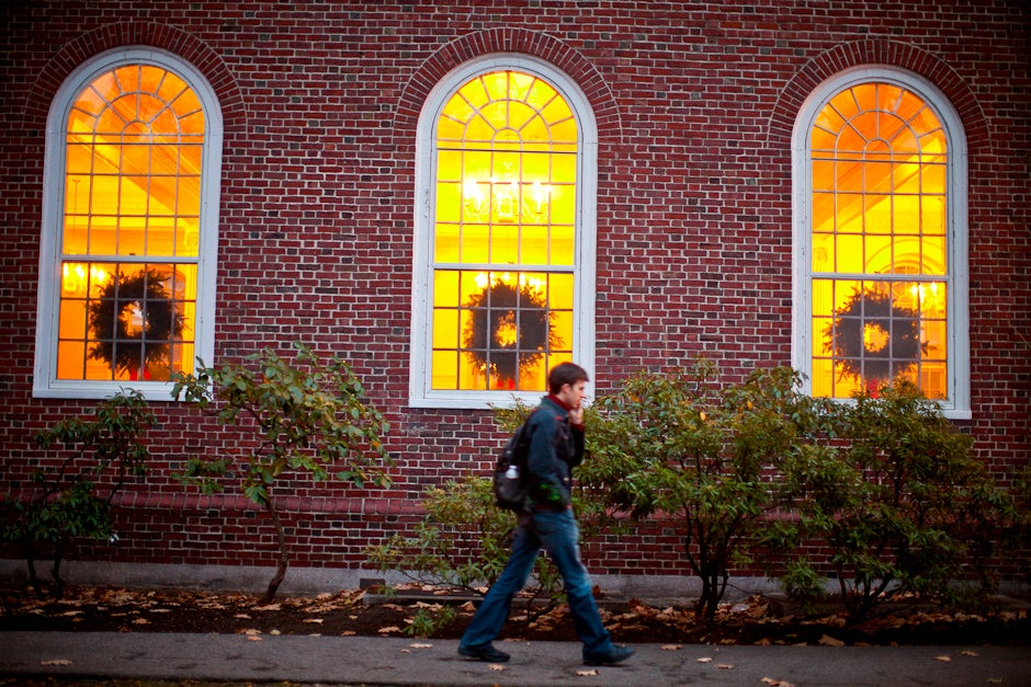 Rob Schaaf makes his way to dinner at Kirkland House, decorated for the season. Justin Ide/Harvard Staff Photographer