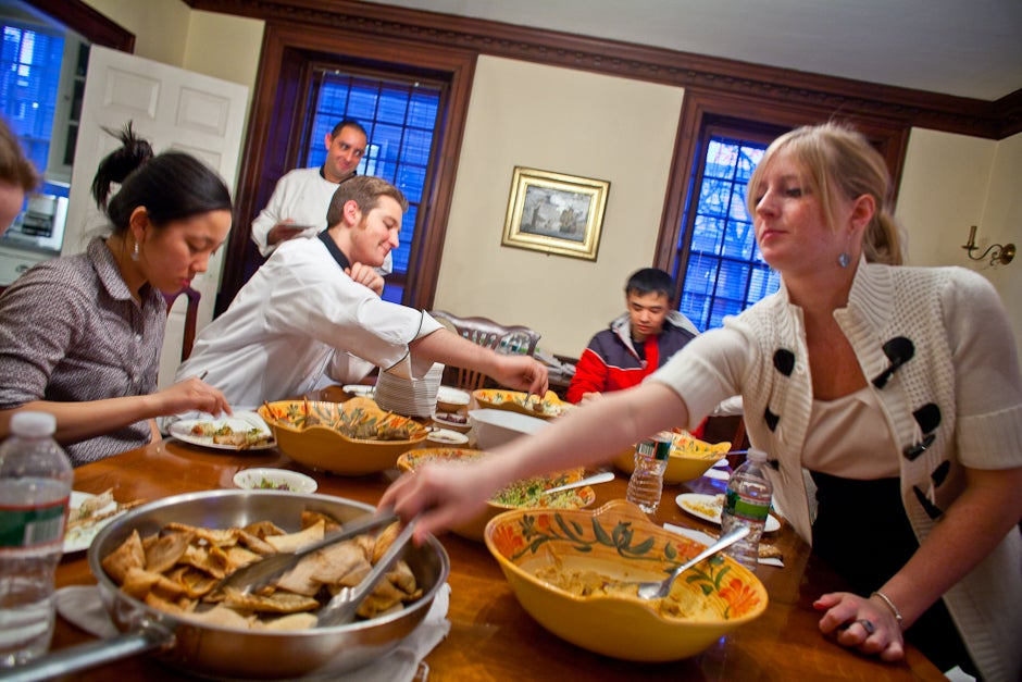 The cooking class participants are rewarded with dinner. Justin Ide/Harvard Staff Photographer
