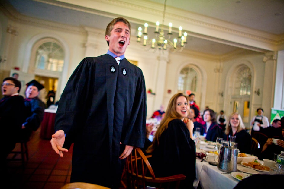 """Dillon Powers '11 sings """"Ode to Kirkland"""" during Commencement 2011. Justin Ide/Harvard Staff Photographer"""