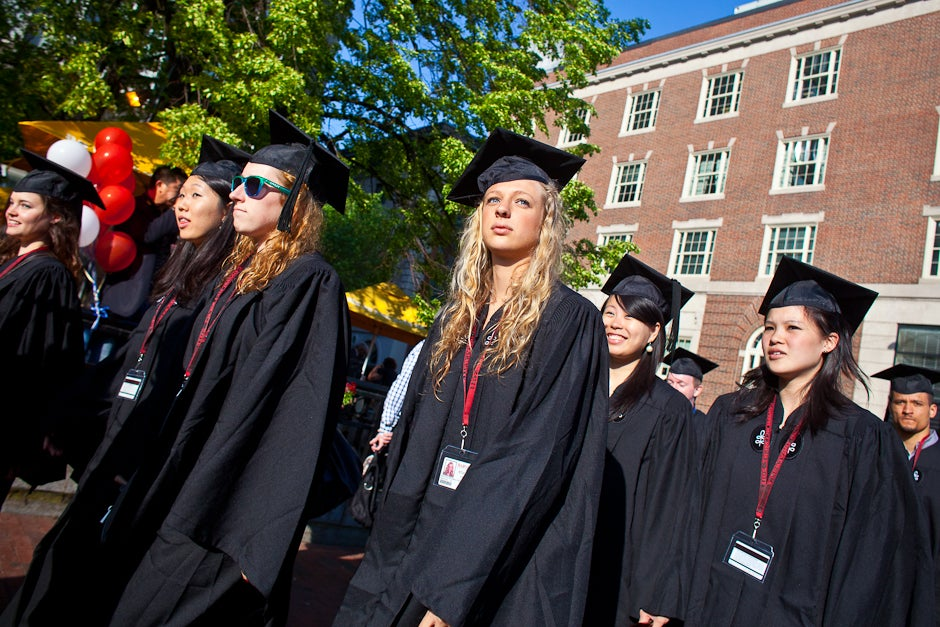 Kirkland House residents make their way to the Yard for Commencement activities. Justin Ide/Harvard Staff Photographer