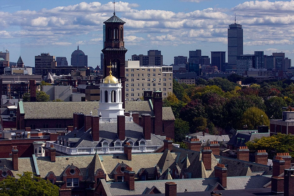 This overview shows Adams House and the Boston skyline. Kris Snibbe/Harvard Staff Photographer