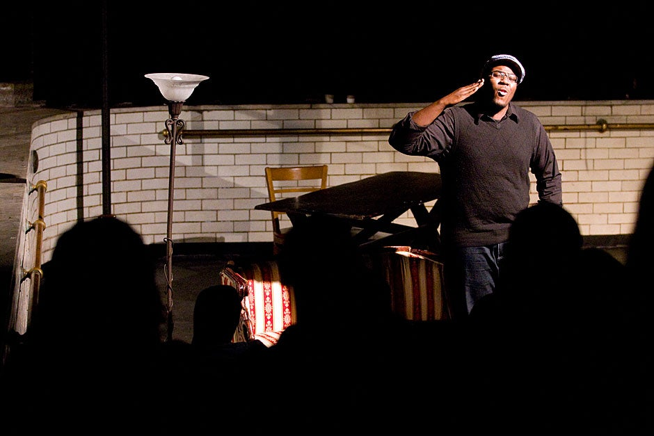 """Anselm Beach '11 performs in """"The Exonerated."""" Kris Snibbe/Harvard Staff Photographer"""