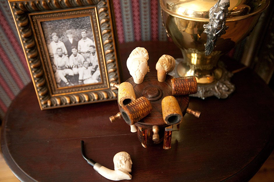 These antiques form an eclectic still life in the FDR Suite. Kris Snibbe/Harvard Staff Photographer