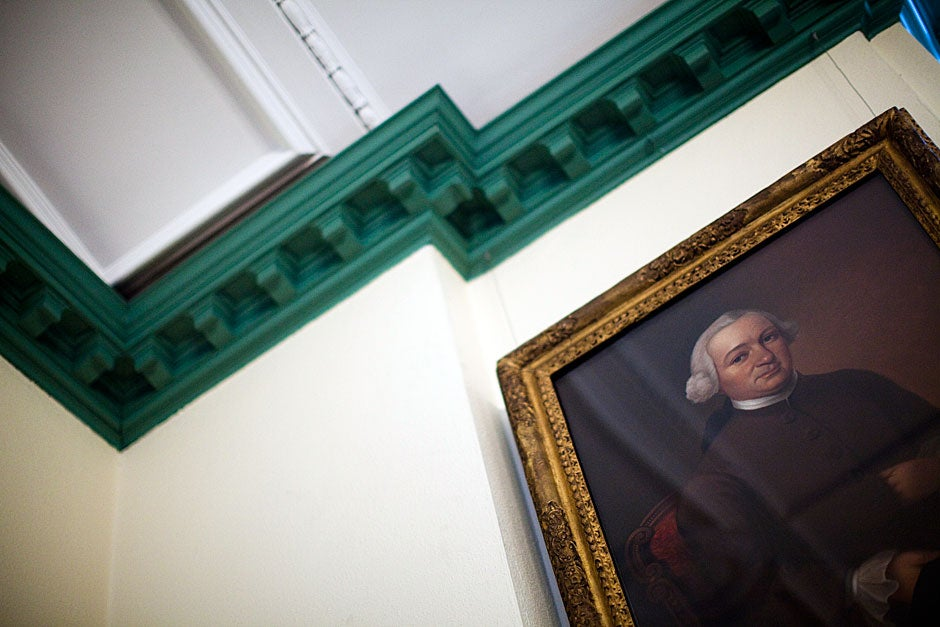 Winthrop's library holds many portraits, including this one of John Still Winthrop. Stephanie Mitchell/Harvard Staff Photographer