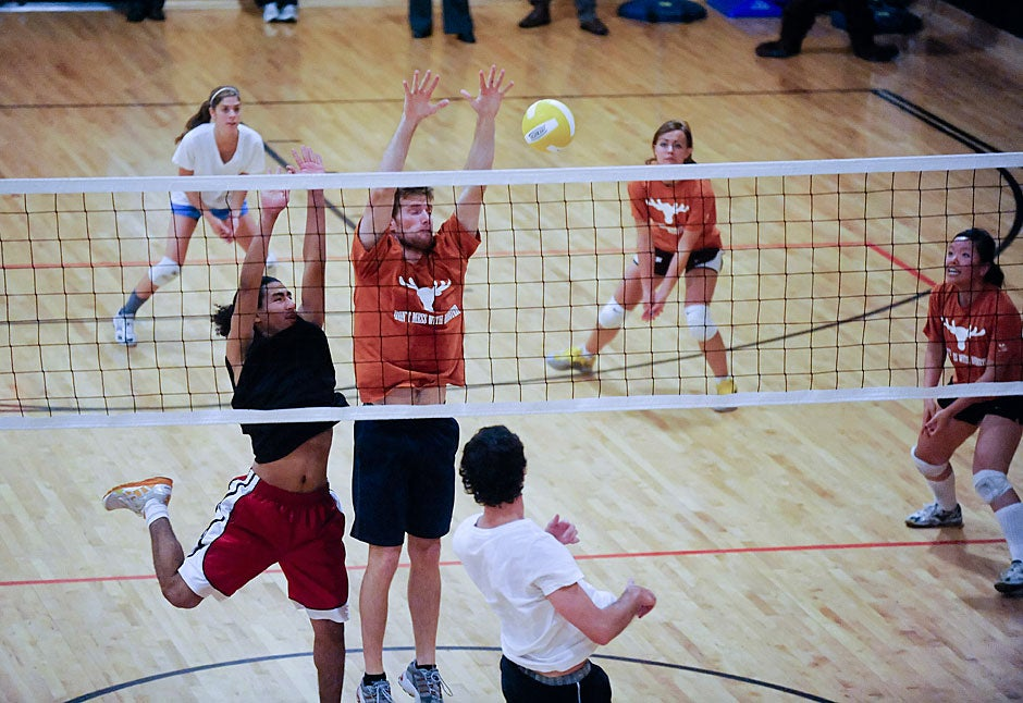 Dunster plays Leverett in the House volleyball championships. The teams split the first two sets before Leverett took the last one, winning the match. Jon Chase/Harvard Staff Photographer