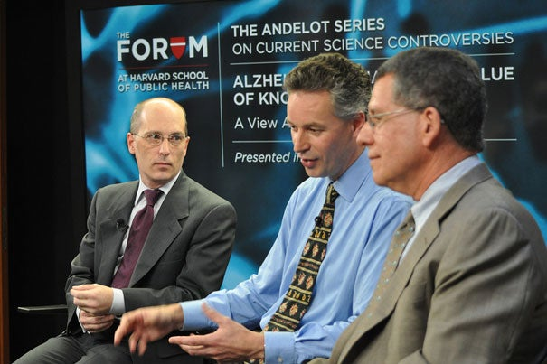 A Harvard School of Public Health and Alzheimer's Europe survey was the focus of a forum that included Matthew Baumgart (from left), senior director of government affairs for the Alzheimer's Association, Adrian Ivinson, founding director of the Harvard NeuroDiscovery Center, and Robert Blendon, professor of health policy and political analysis at HSPH.