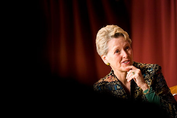"""Swanee Hunt, the Eleanor Roosevelt Lecturer in Public Policy at Harvard Kennedy School, was the U.S. ambassador to Austria during the Bosnian War. Through a series of emotional vignettes, she recounts her diplomatic missions, as well as the impact of war through the eyes of the Bosnians she encountered in her book """"Worlds Apart: Bosnian Lessons for Global Security."""""""