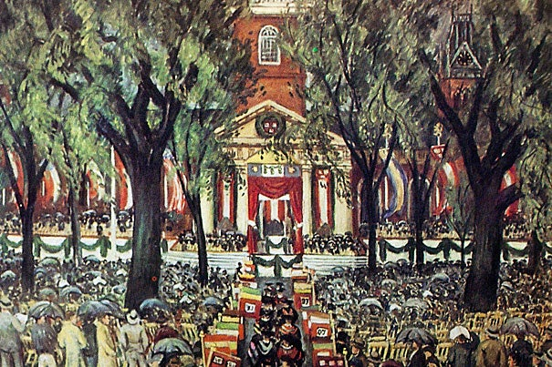 A copy image from Harvard Archives material of Harvard's Centennial celebration in 1936. The painting is by Waldo Pierce, who earned his Harvard degree in 1909.