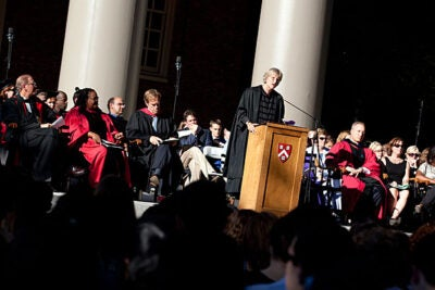 University President Drew Faust welcomed the freshmen under a cloudless sky, noting that convocation was meant to serve as one bookend of their College experience, the other being the Baccalaureate Service two days before Commencement in 2015.